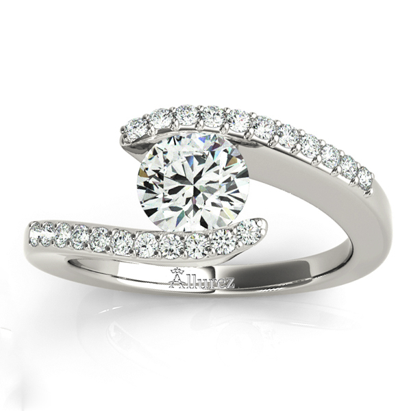 Diamond Accented Tension Set Engagement Ring Platinum (0.17ct)