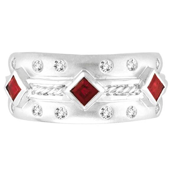 Antique Style Ruby & Diamond Ring 14K White Gold