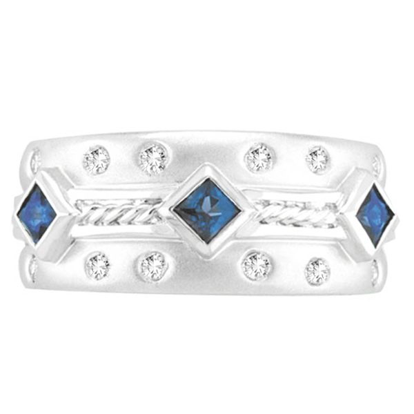 Antique Style Sapphire & Diamond Ring 14K White Gold