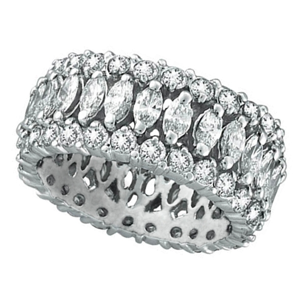 Marquise & Round Diamond Eternity Ring 18K White Gold (4.42 ctw)