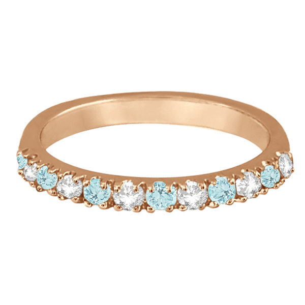 Diamond & Aquamarine Ring Guard Anniversary Band 14k Rose Gold (0.32ct)