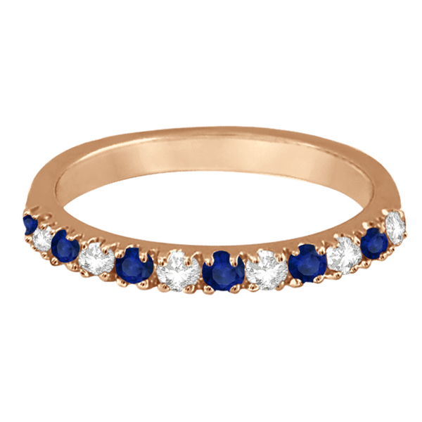 Diamond & Blue Sapphire Ring Guard Stackable Band 14k Rose Gold (0.32ct)