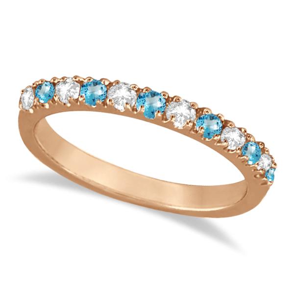 Diamond & Blue Topaz Ring Anniversary Band 14k Rose Gold (0.32ct)