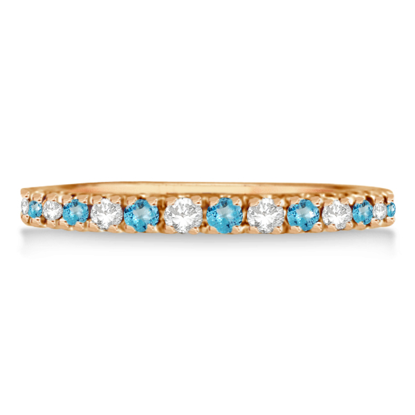 Diamond & Blue Topaz Ring Anniversary Band 14k Rose Gold (0.32ct)