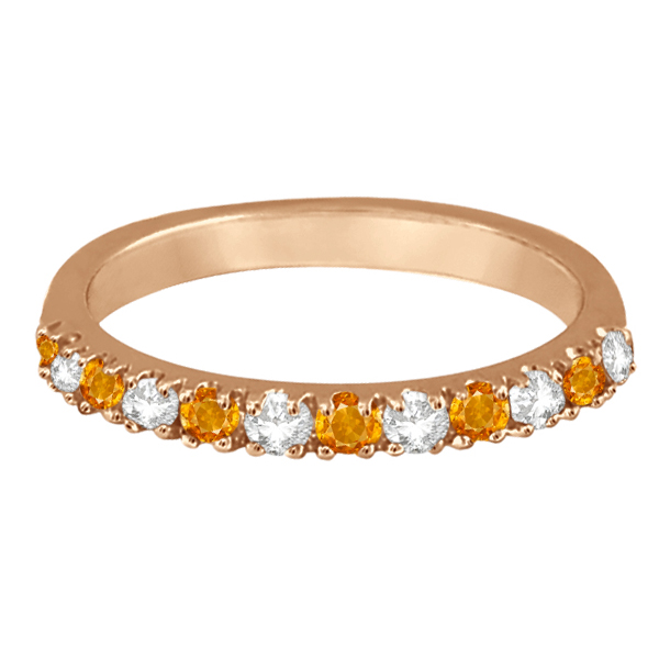 Diamond and Citrine Ring Guard Anniversary Band 14k Rose Gold (0.32ct)