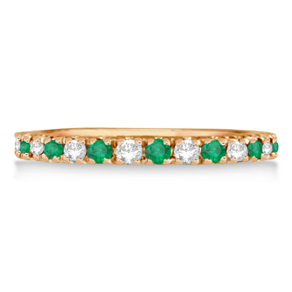 Diamond and Emerald Ring Guard Anniversary Band 14k Rose Gold (0.32ct)