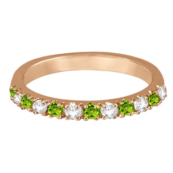 Diamond and Peridot Ring Guard Anniversary Band 14k Rose Gold (0.32ct)