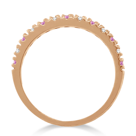 Diamond and Pink Sapphire Ring Guard Stackable 14k Rose Gold (0.32ct)