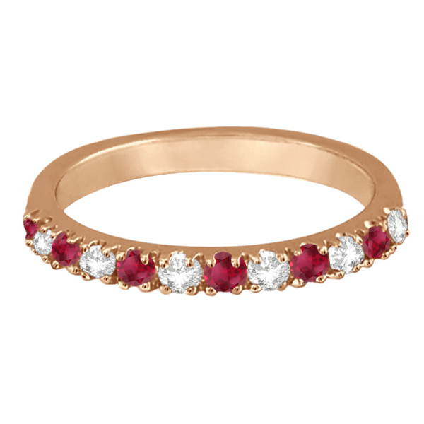 Diamond and Ruby Band Anniversary Ring Guard 14K Rose Gold (0.37ct)