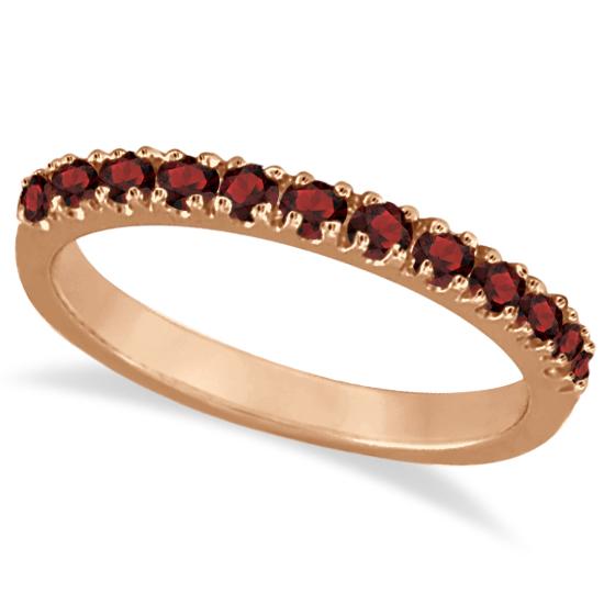 Garnet Stackable Ring Guard Band 14K Rose Gold (0.37ct)