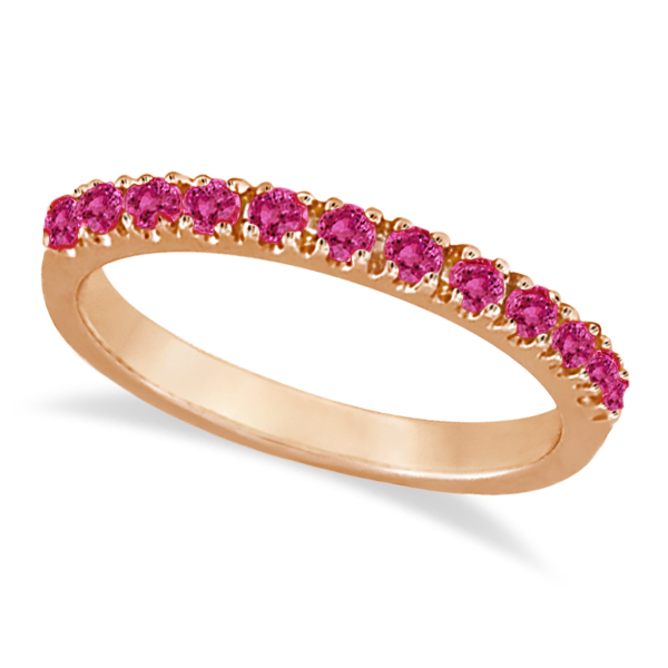 Pink Sapphire Stackable Band Ring Guard in 14k Rose Gold (0.38ct)