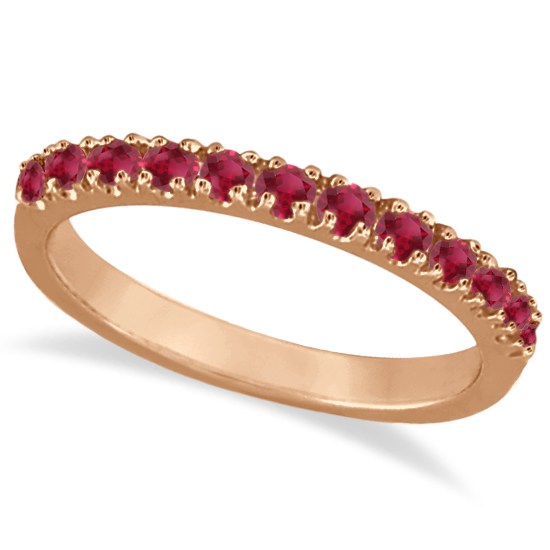 Ruby Stackable Ring Guard Band 14K Rose Gold (0.37ct)