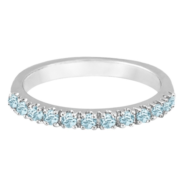 Aquamarine Stackable Ring Anniversary Band in 14k White Gold
