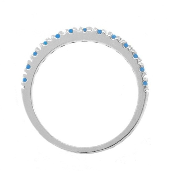 Blue Diamond Stackable Band Ring Guard in 14k White Gold (0.25ct)