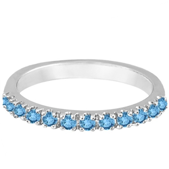 Blue Topaz Stackable Band Ring Guard in 14k White Gold (0.38ct)