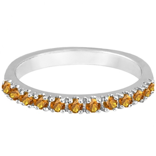 Citrine Stackable Band Anniversary Ring Guard 14k White Gold (0.38ct)