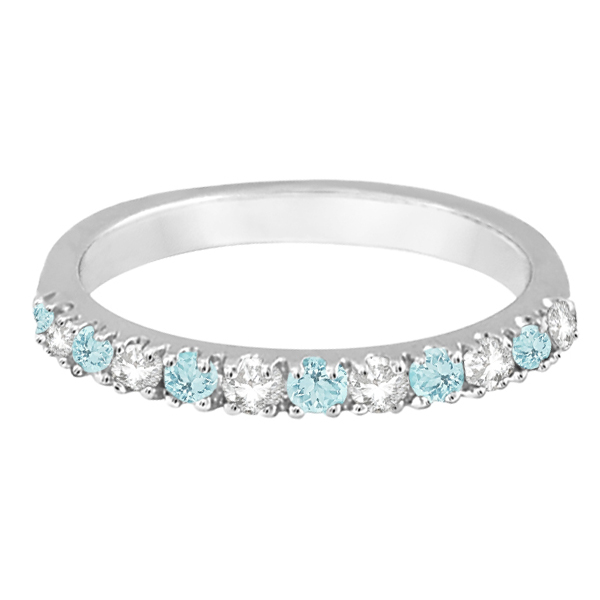 Diamond & Aquamarine Ring Guard Anniversary Band 14k White Gold (0.32ct)