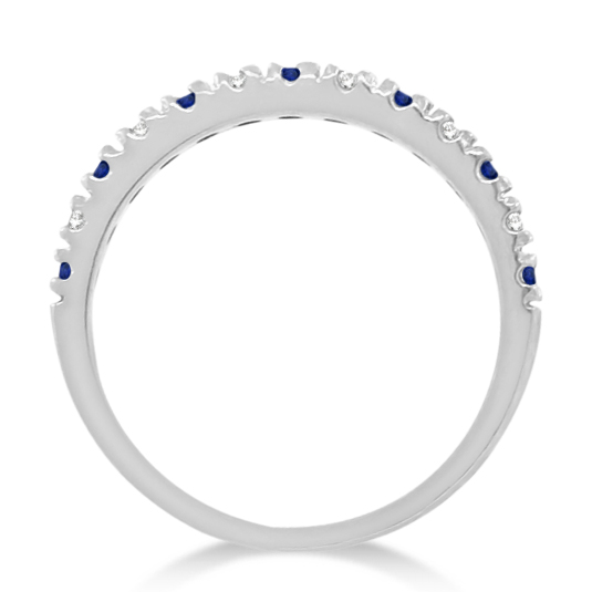 Diamond and Blue Sapphire Ring Anniversary Band 14k White Gold (0.32ct)