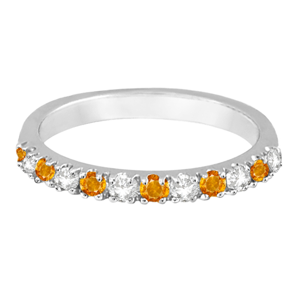 Diamond and Citrine Ring Guard Stackable Band 14k White Gold (0.32ct)