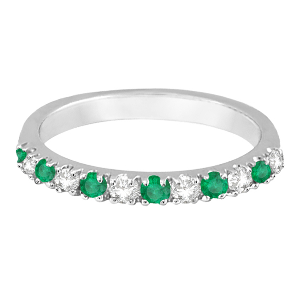 Diamond and Emerald Ring Guard Anniversary Band 14k White Gold (0.32ct)