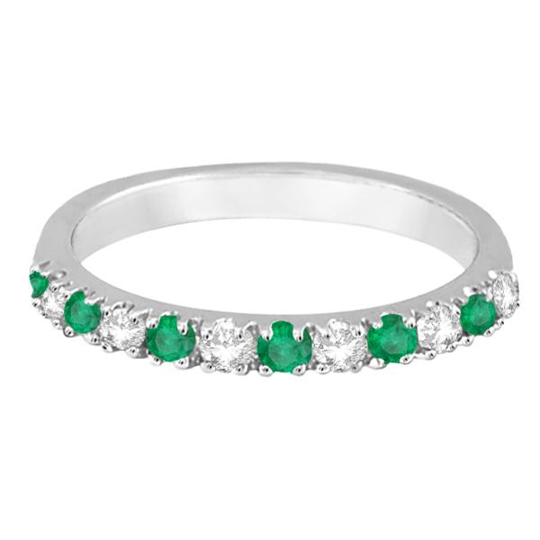 Diamond and Emerald Ring Guard Anniversary Band 14k White Gold (0.32ct)