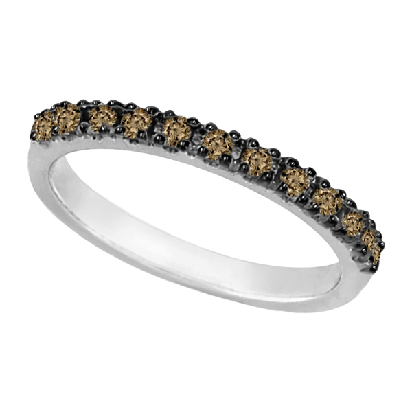 Champagne Diamond Stackable Ring Guard 14k White Gold (0.25ct)