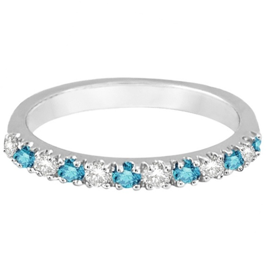 Blue & White Diamond Stackable Ring Band 14k White Gold (0.25ct)