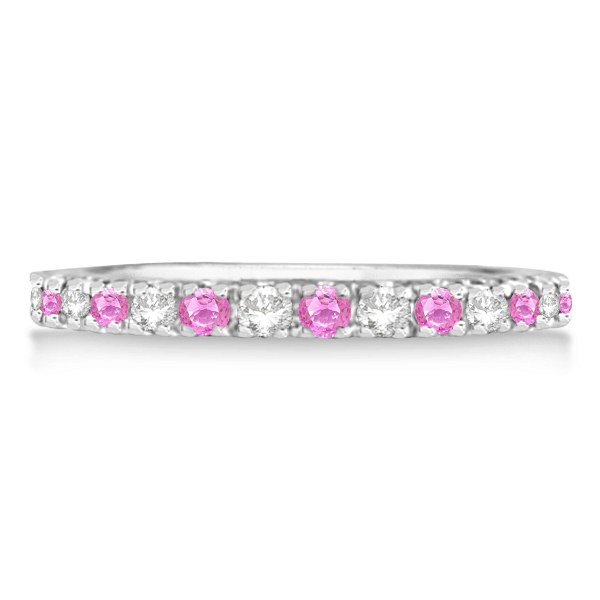 Diamond and Pink Sapphire Ring Guard Stackable 14k White Gold (0.32ct)
