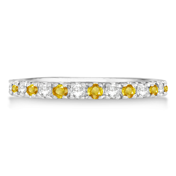 Diamond and Yellow Sapphire Ring Stackable Band 14k White Gold (0.32ct)