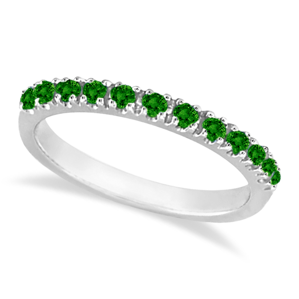 Emerald Semi-Eternity Band Stackable Ring in 14K White Gold (0.38 ct)