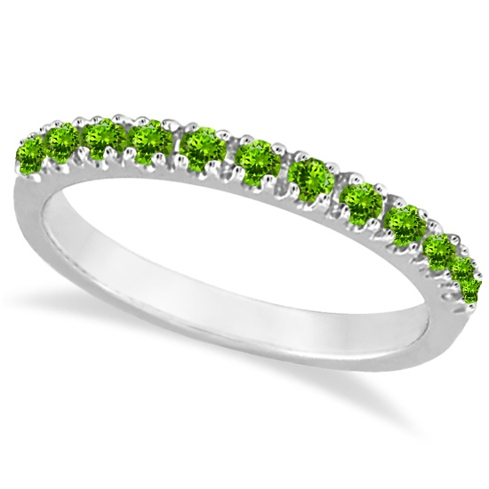 Peridot Stackable Band Anniversary Ring Guard 14k White Gold (0.38ct)