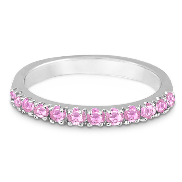Pink Sapphire Stackable Band Ring Guard in 14k White Gold (0.38ct)