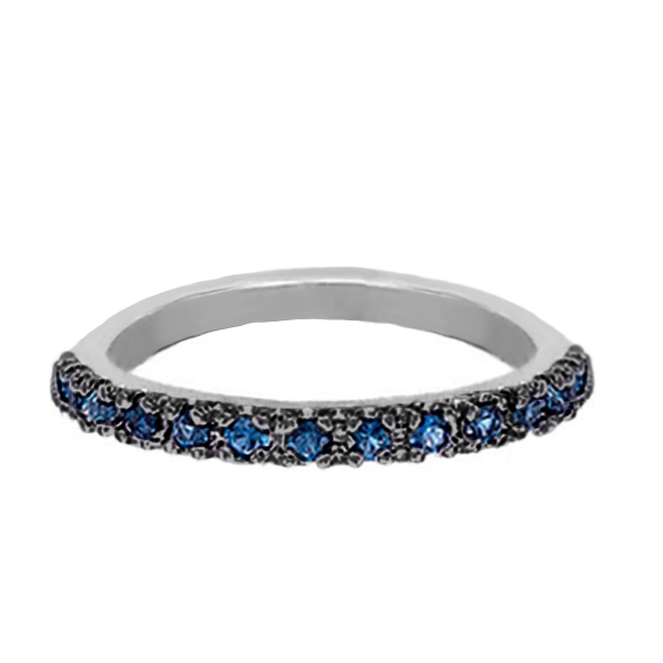 Blue Sapphire Stackable Ring with Black Rhodium in 14k White Gold