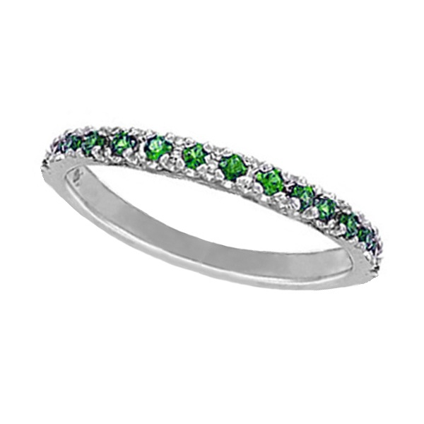 Tsavorite Stackable Ring Guard in 14K White Gold (0.25ct)