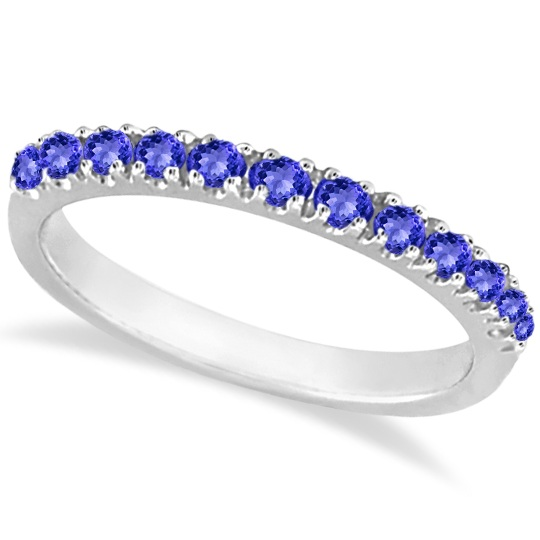 Tanzanite Stackable Band Anniversary Ring Guard 14k White Gold (0.38ct)