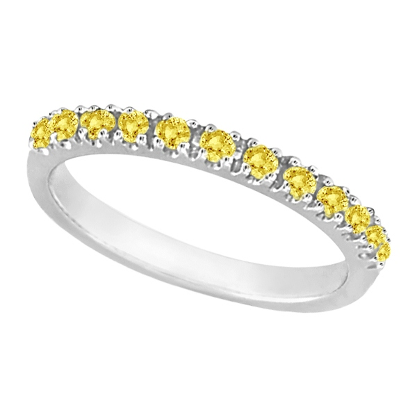 Yellow Canary Diamond Stackable Ring Band 14k White Gold (0.25 ct)