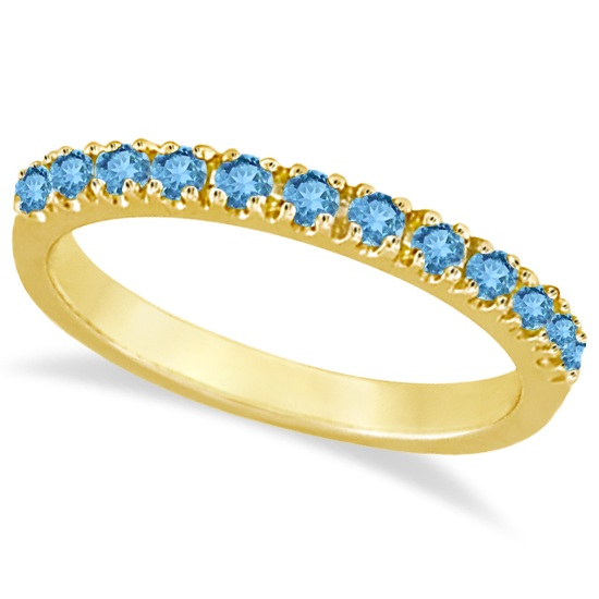 Blue Topaz Stackable Band Ring Guard in 14k Yellow Gold (0.38ct)