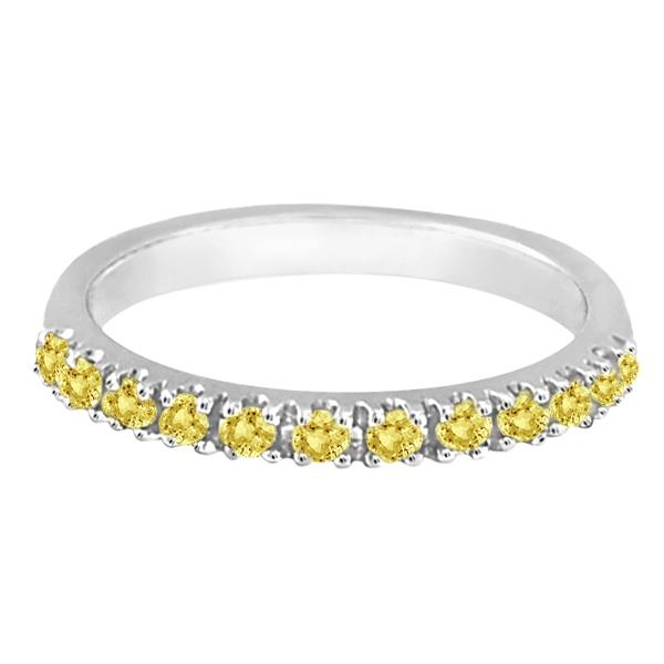 Yellow Canary Diamond Stackable Ring Anniversary Band Palladium 0.25ct