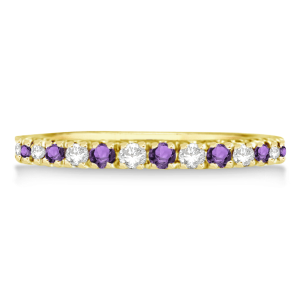Diamond and Amethyst Band Stackable Ring Guard 14k Yellow Gold (0.32ct)