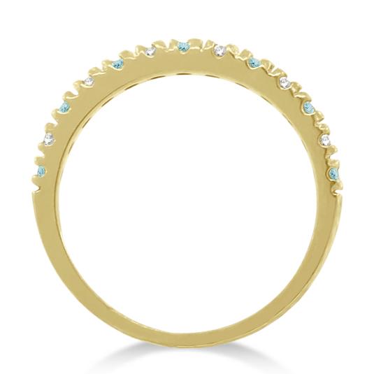 Diamond & Aquamarine Ring Guard Stackable Band 14k Yellow Gold (0.32ct)