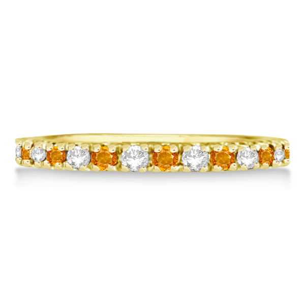 Diamond and Citrine Ring Guard Stackable Band 14k Yellow Gold (0.32ct)