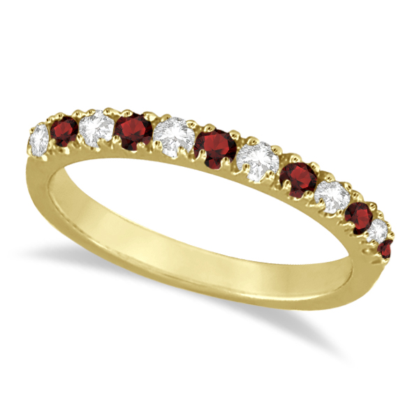 Diamond and Garnet Ring Guard Stackable Band 14K Yellow Gold (0.37ct)