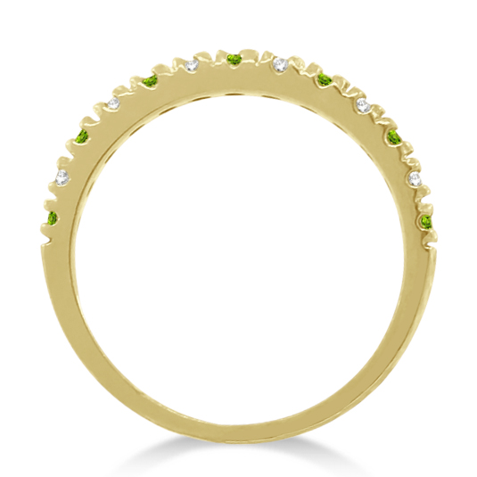 Diamond and Peridot Ring Guard Stackable Band 14k Yellow Gold (0.32ct)