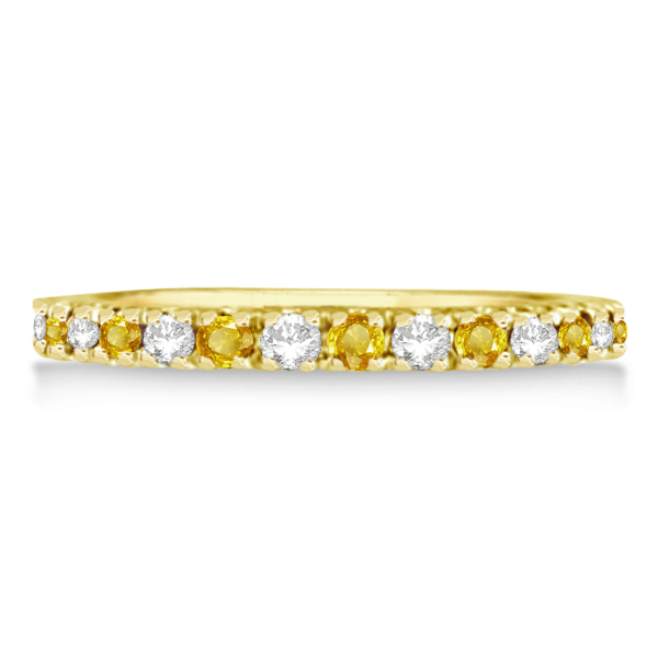 Diamond and Yellow Sapphire Ring Stackable Band14k Yellow Gold (0.32ct)