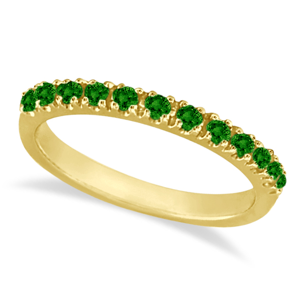 Emerald Semi-Eternity Band Stackable Ring 14K Yellow Gold (0.38 ct)