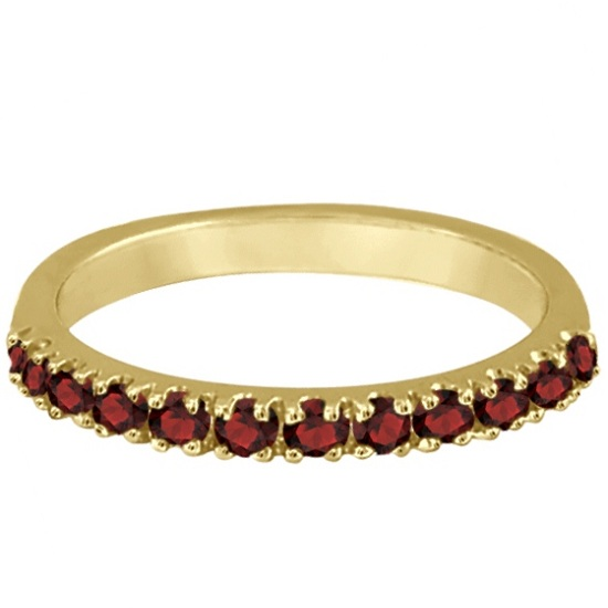 Garnet Stackable Ring Guard Band 14K Yellow Gold (0.37ct)