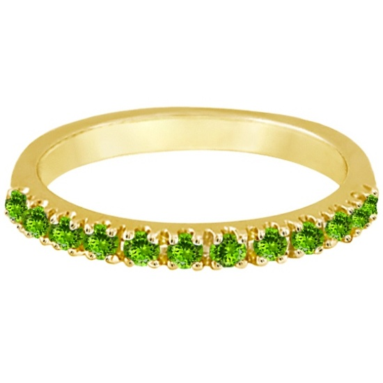 Peridot Stackable Band Anniversary Ring Guard 14k Yellow Gold (0.38ct)