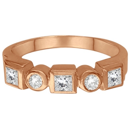 Princess-Cut & Round Diamond Ring in 14K Rose Gold (0.60ct)