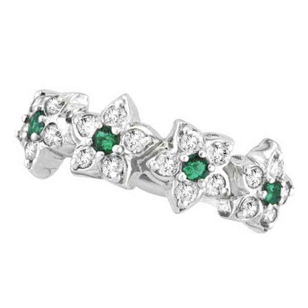Emerald & Diamond Flower Fashion Ring in 14k White Gold (0.64 ctw)