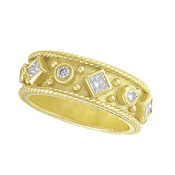 Princess Cut & Round Diamond Byzantine Band 18K Yellow Gold (0.41ct)